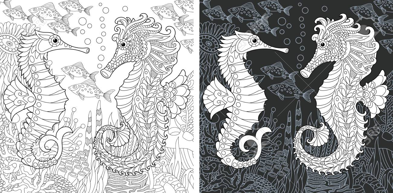 Coloring Page. Coloring Book. Colouring picture with Sea horses..