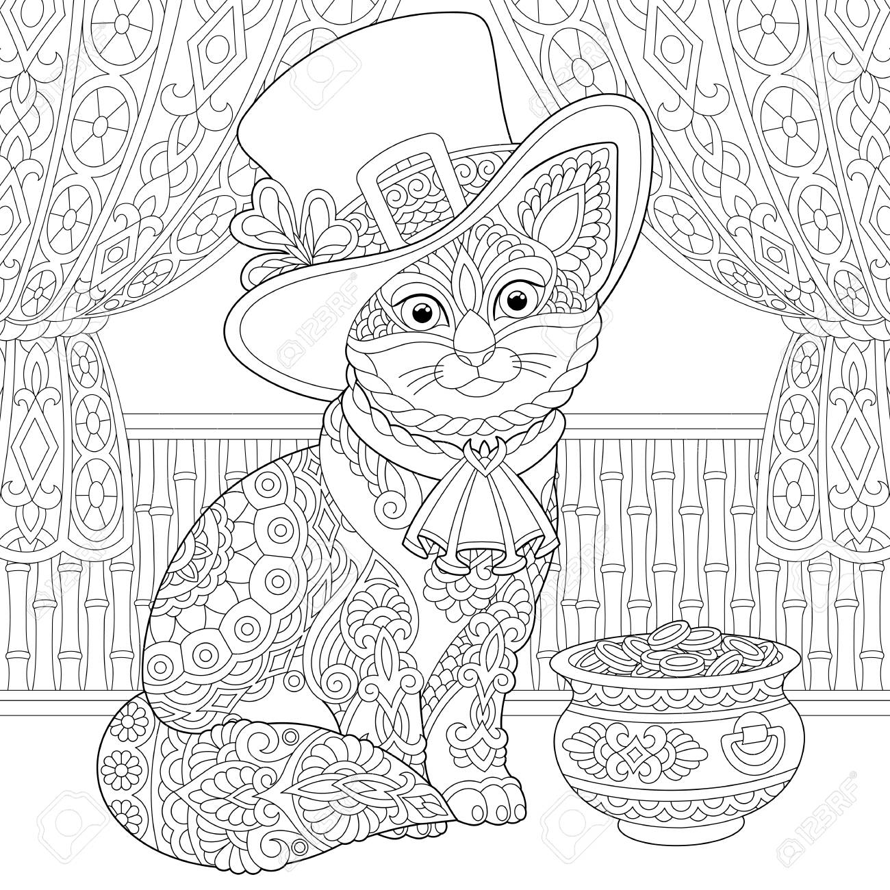 St. Patrick Day coloring page. Colouring picture with cat in..