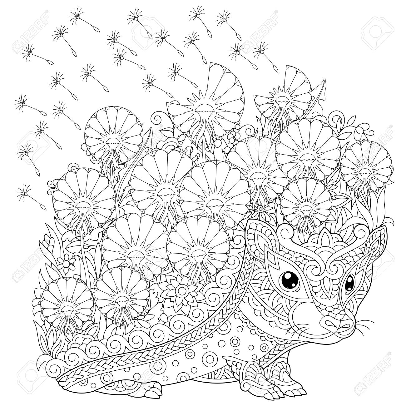 coloring page. Colouring picture with Hedgehog and spring flowers. Freehand sketch drawing for adult coloring book. - 118879881