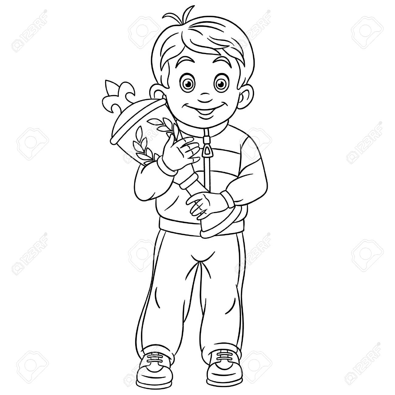 Colouring page cute cartoon winner in sport competitions boy
