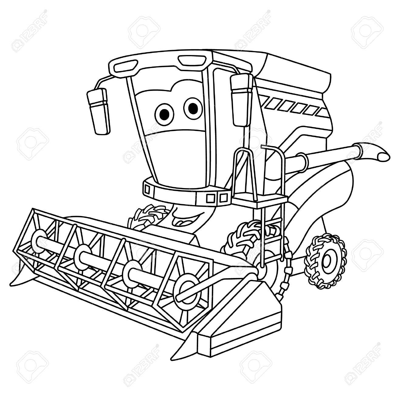 Coloring Page Colouring Picture Cute Cartoon Harvester Combine Royalty Free Cliparts Vectors And Stock Illustration Image 133814708