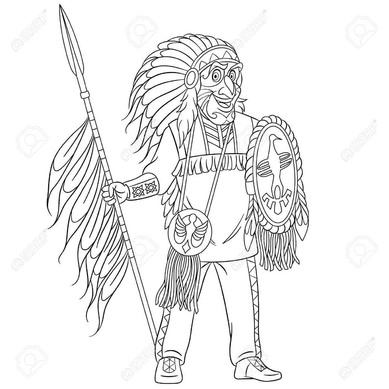 - Colouring Page. Cute Cartoon Native American Indian Warrior With