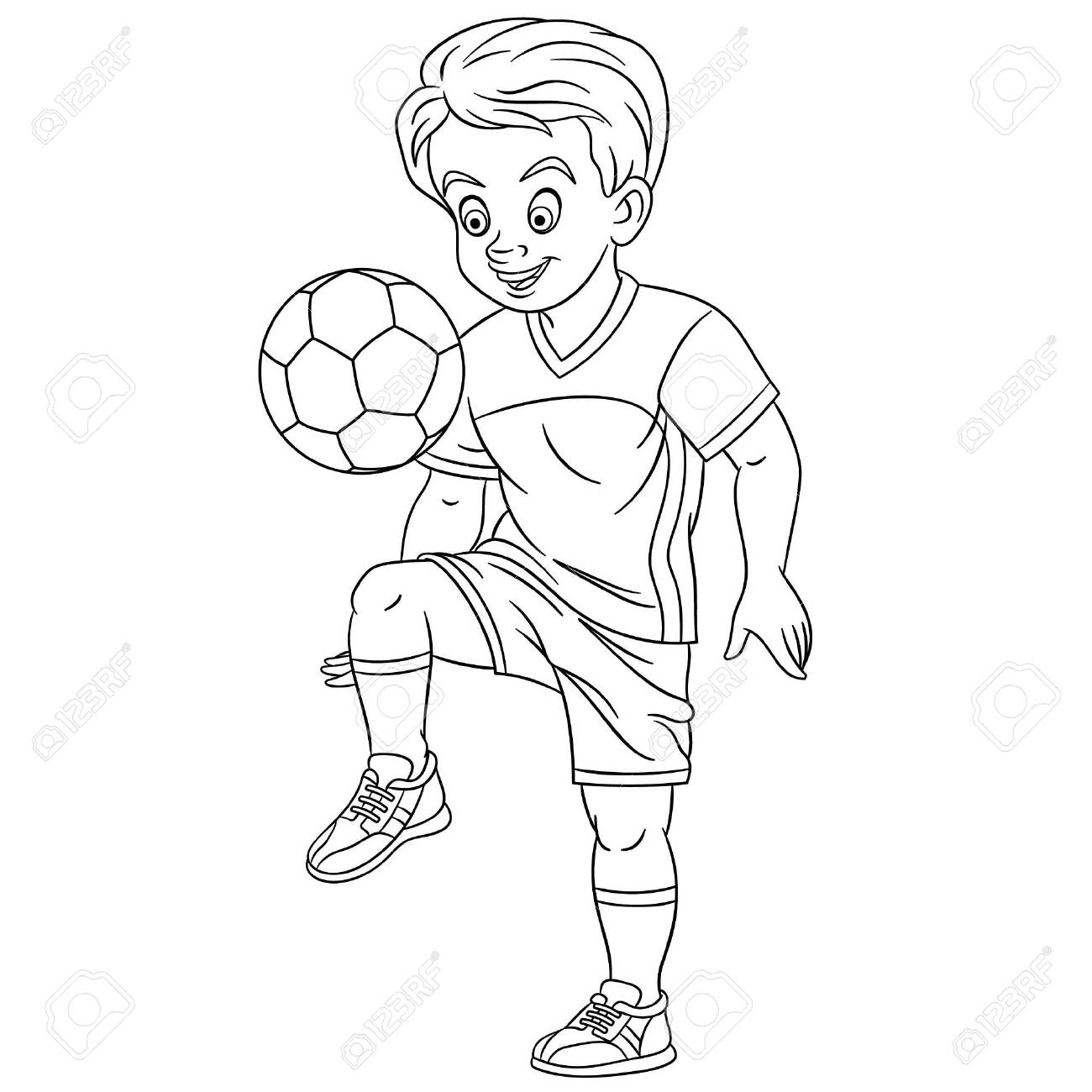 Colouring Page Cute Cartoon Footballer Young Boy Playing Football Royalty Free Cliparts Vectors And Stock Illustration Image 133814731
