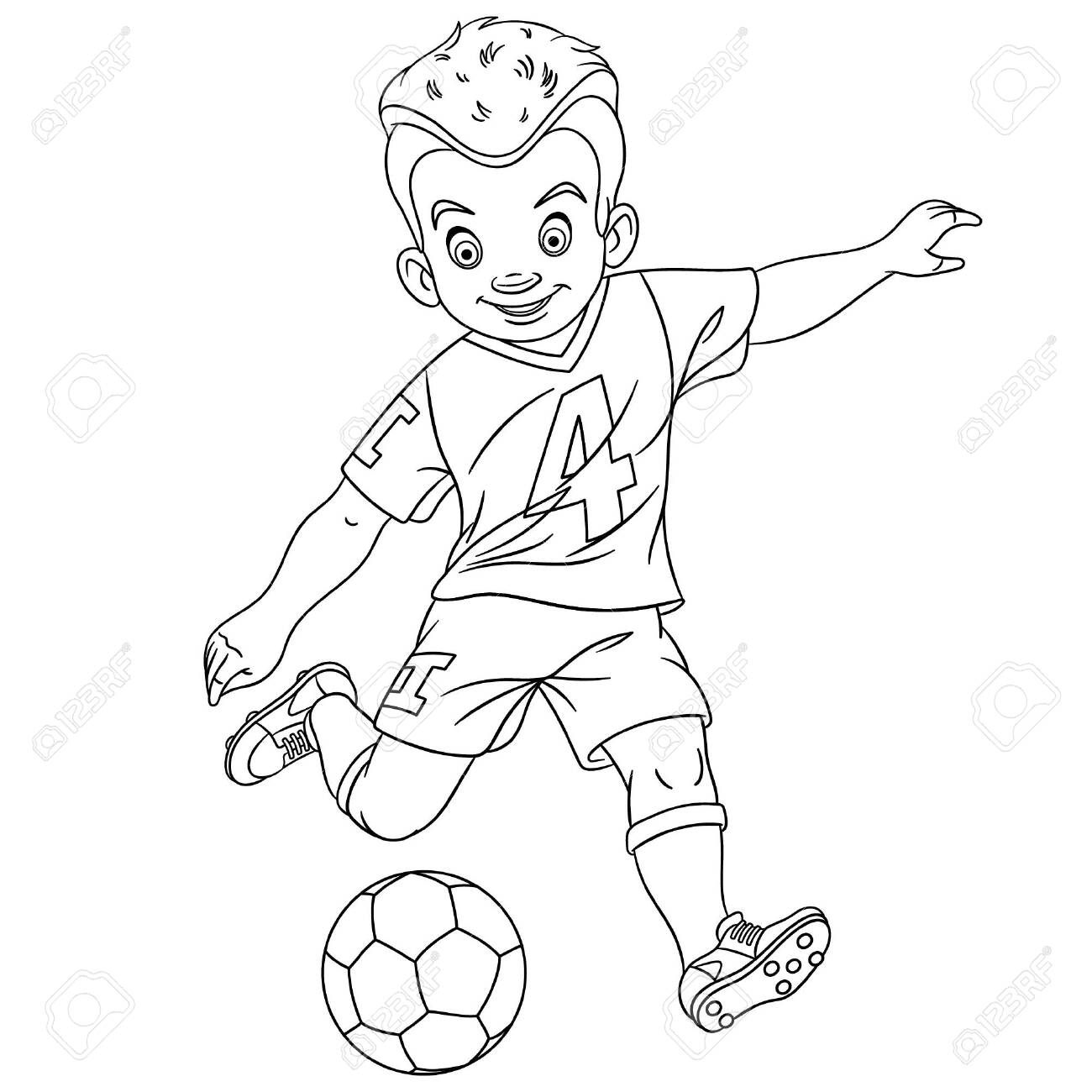 - Colouring Page. Cute Cartoon Footballer, Young Boy Playing