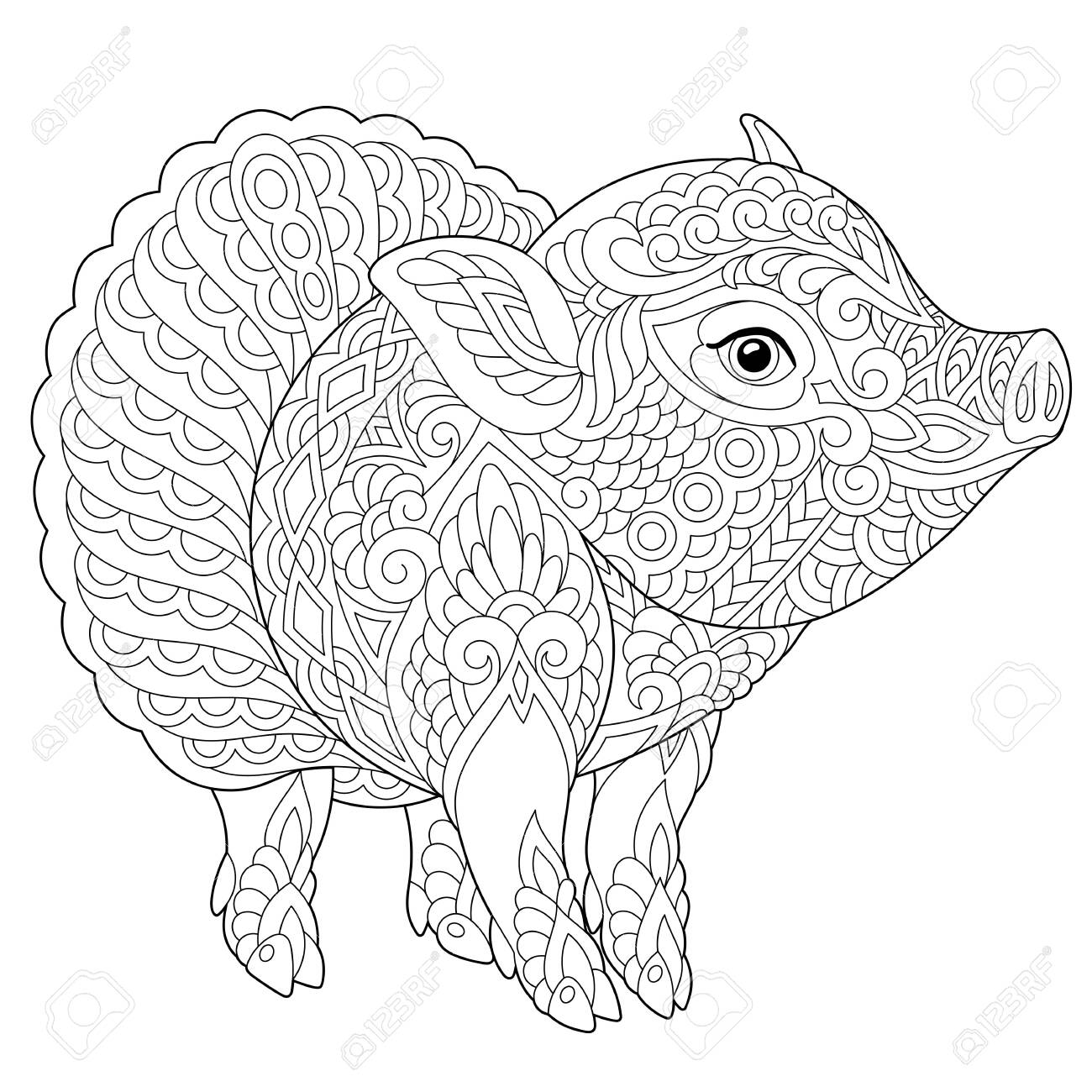 Pig Coloring Page Anti Stress Colouring Picture With Cute Piggy Royalty Free Cliparts Vectors And Stock Illustration Image 133791423