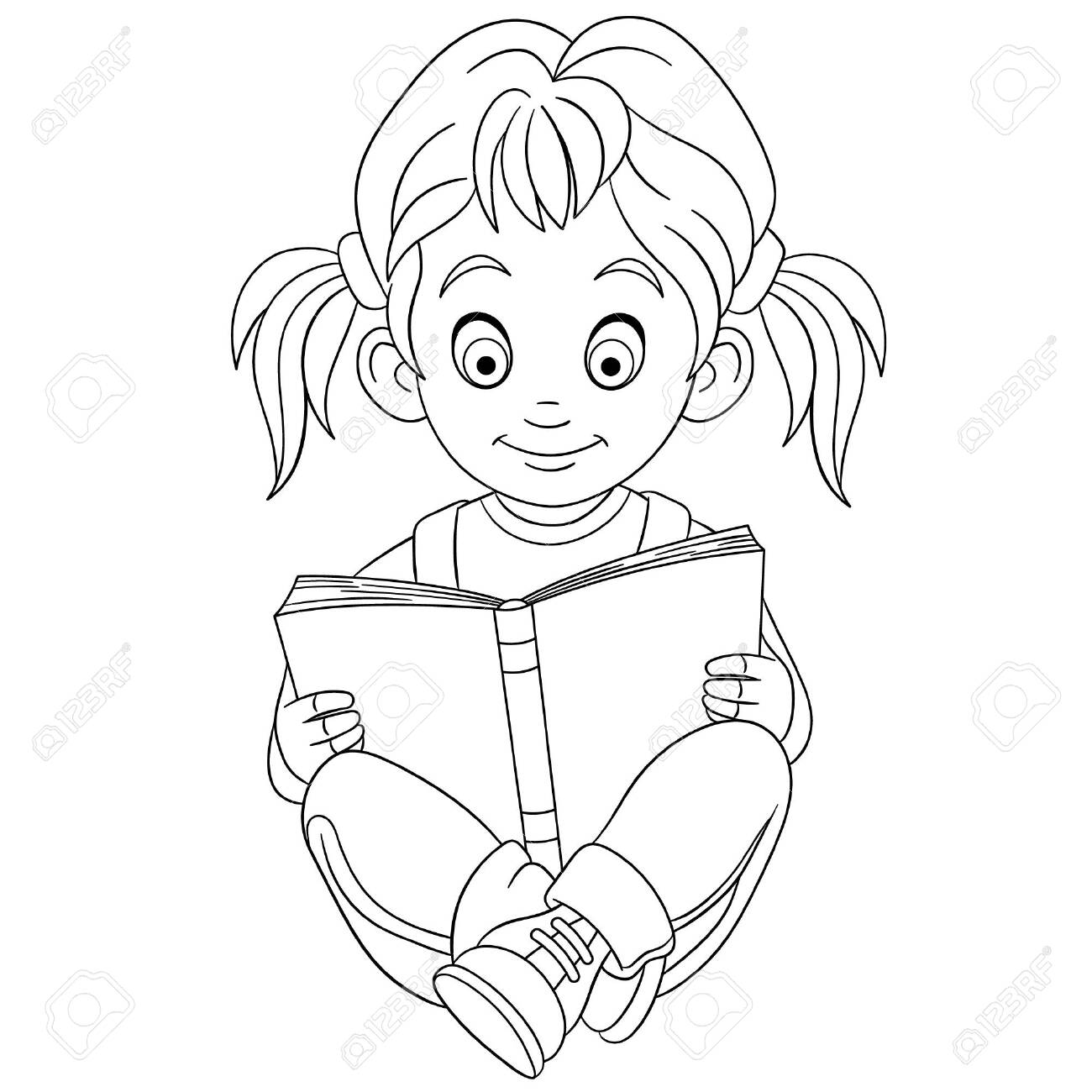 Coloring Page Coloring Picture Of Cartoon Girl Reading Childish Royalty Free Cliparts Vectors And Stock Illustration Image 134435450