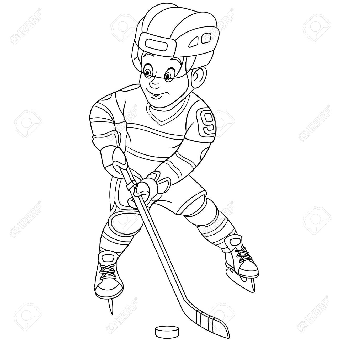 Coloring Page Coloring Picture Of Cartoon Hockey Player Boy Royalty Free Cliparts Vectors And Stock Illustration Image 135088768