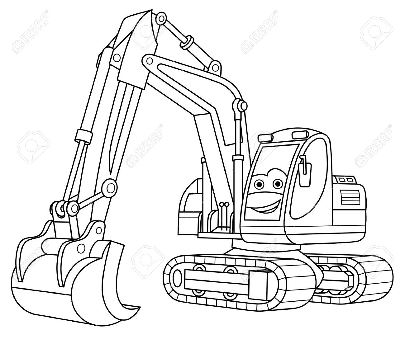 Coloring Page Coloring Picture Of Cartoon Excavator Childish Royalty Free Cliparts Vectors And Stock Illustration Image 135658367