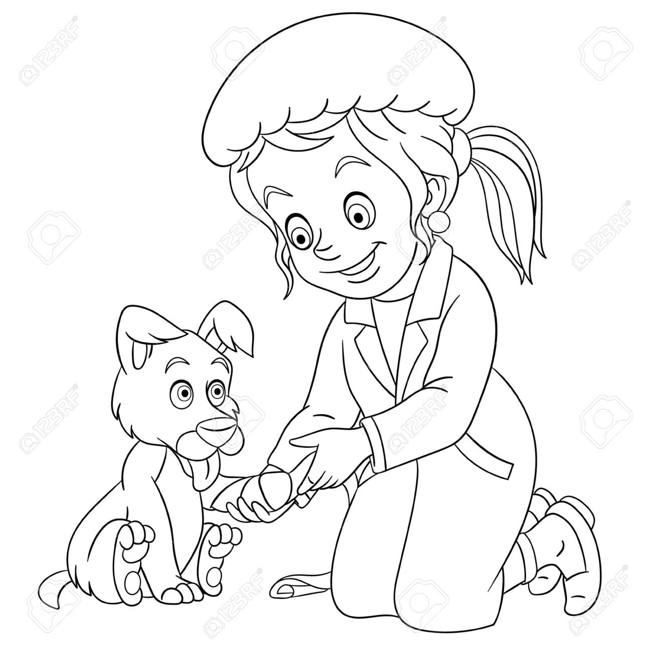 Coloring Page Coloring Picture Of Cartoon Vet Girl Young Veterinarian Royalty Free Cliparts Vectors And Stock Illustration Image 138736481