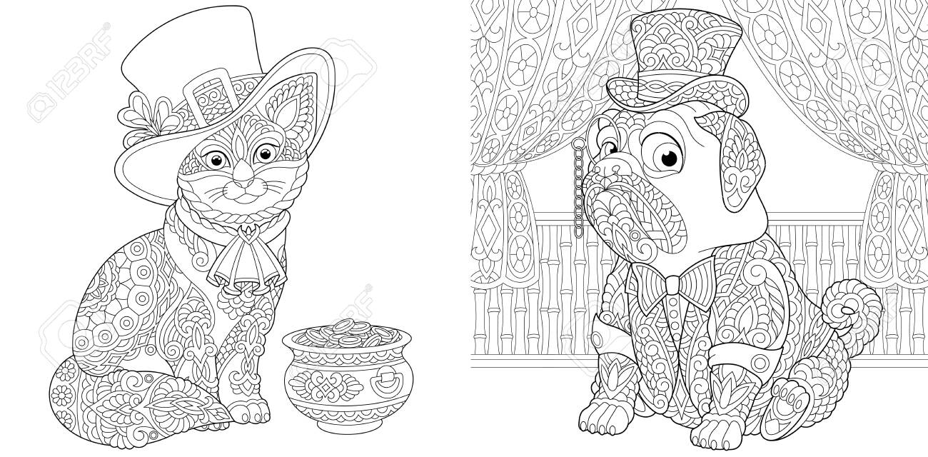 Animal Coloring Pages Leprechaun Cat With Gold Pot And Pug Dog Royalty Free Cliparts Vectors And Stock Illustration Image 146991230