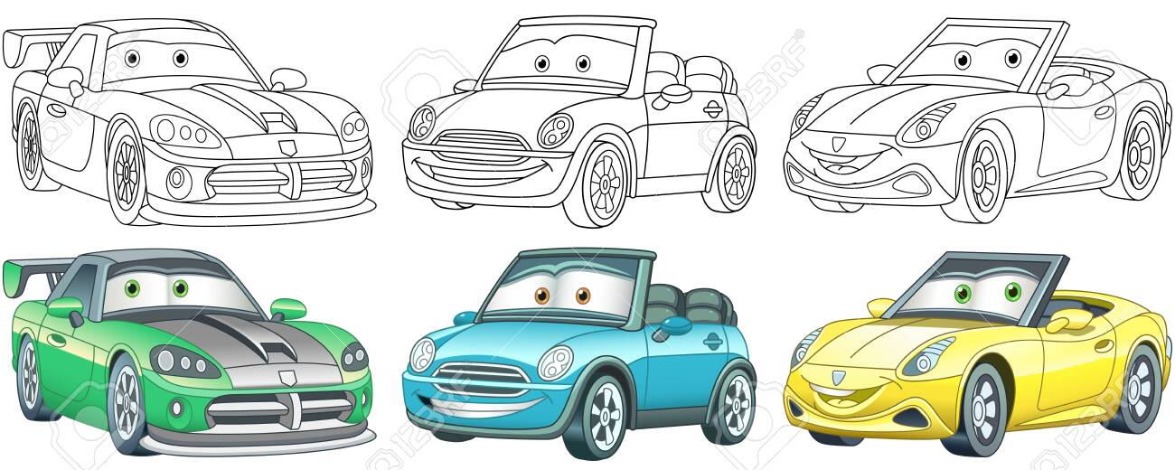 Cartoon Cars. Coloring Pages For Kids. Colorful Clipart Characters...  Royalty Free Cliparts, Vectors, And Stock Illustration. Image 148049431.