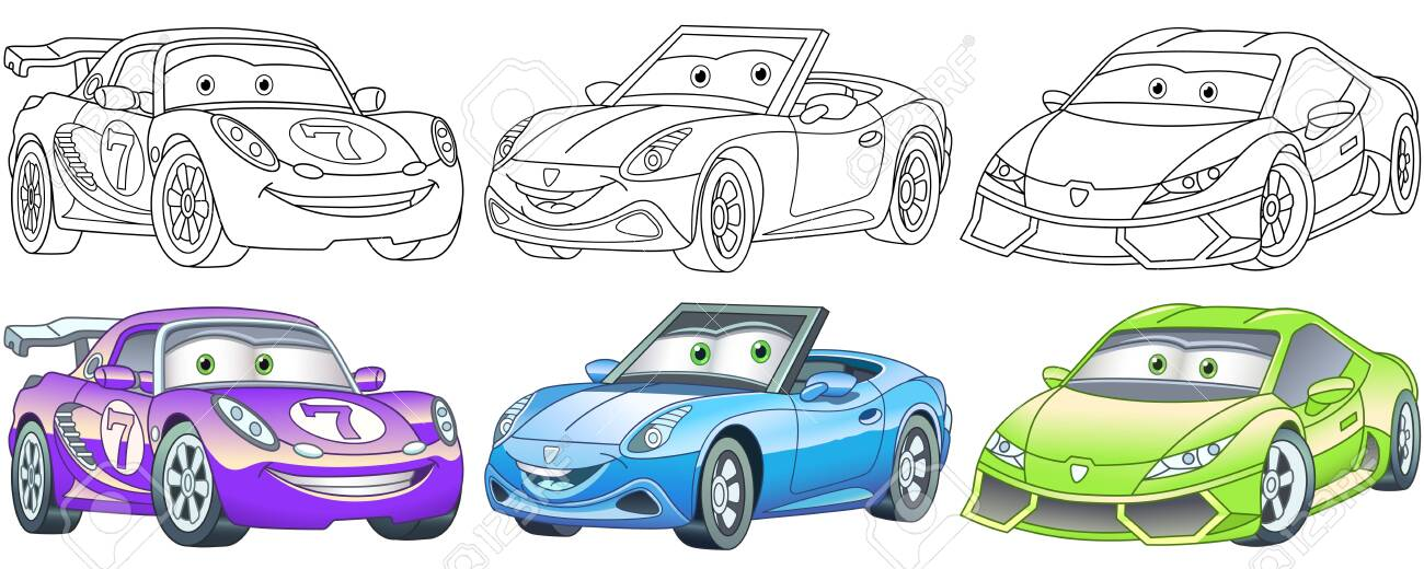 Cartoon Cars Coloring Pages For Kids Colorful Clipart Characters Royalty Free Cliparts Vectors And Stock Illustration Image 148049435