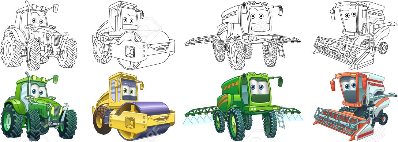Coloring pages. Farm transport. Cartoon clipart set for activity coloring book, t shirt print, icon, logo, label, patch or sticker. Vector illustration. - 152623562
