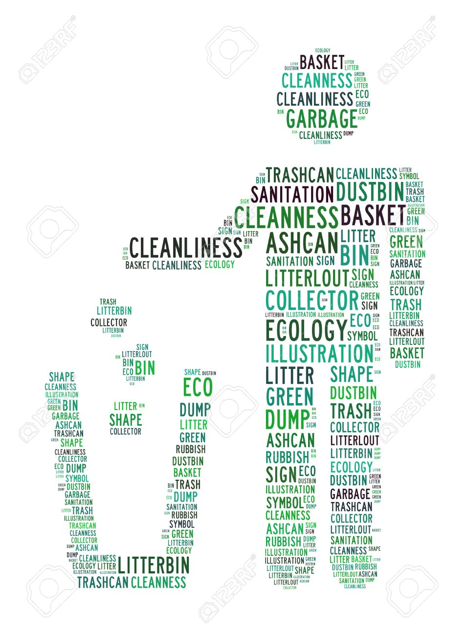 recycle bin text clouds on isolated background Stock Photo - 12250141