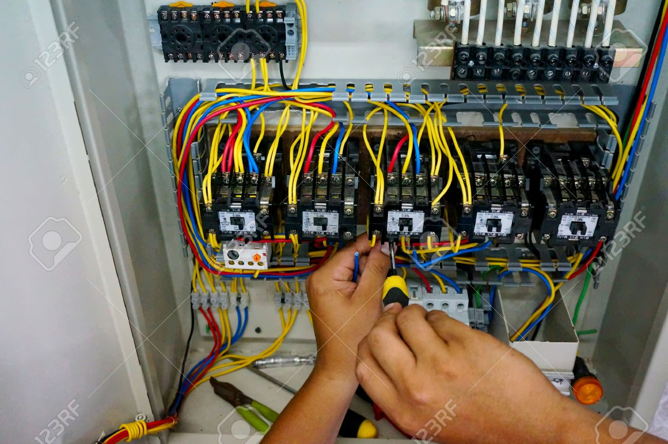 Contactor Wiring Work In Motor Control Panel Stock Photo, Picture ...