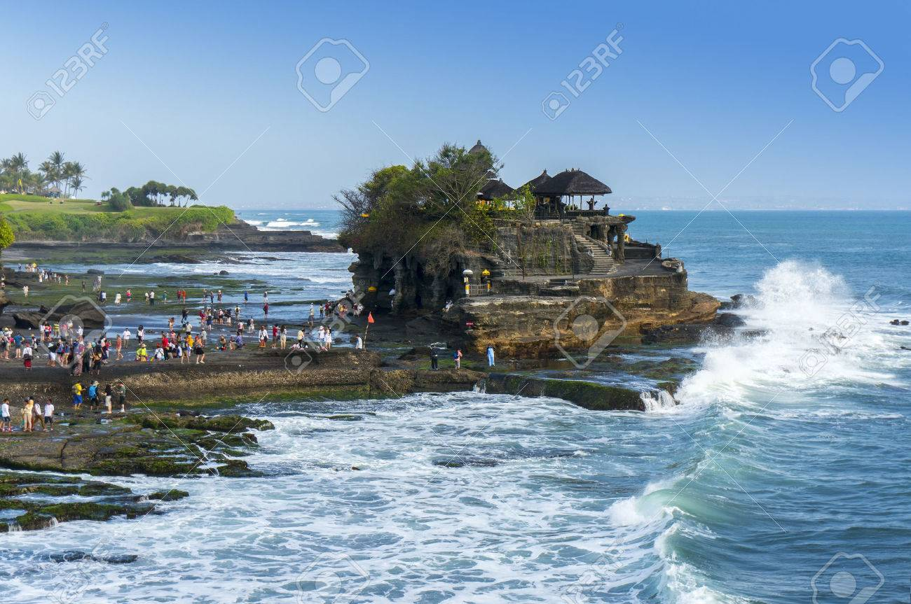 Tanah Lot Is Very Popular Destination For Tourist At Bali Island