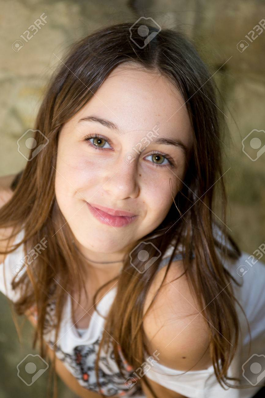 A Cute Teenage Girl Of 12 Years Old Smiling At The Camera Stock Photo 42544843