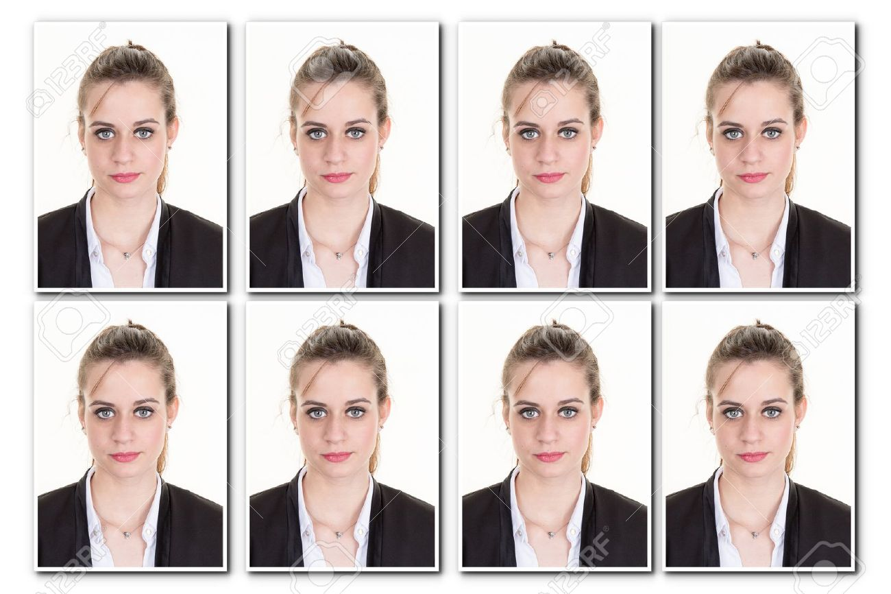 Identification photo of a girl for passport, collage of 8 photos - 53263636