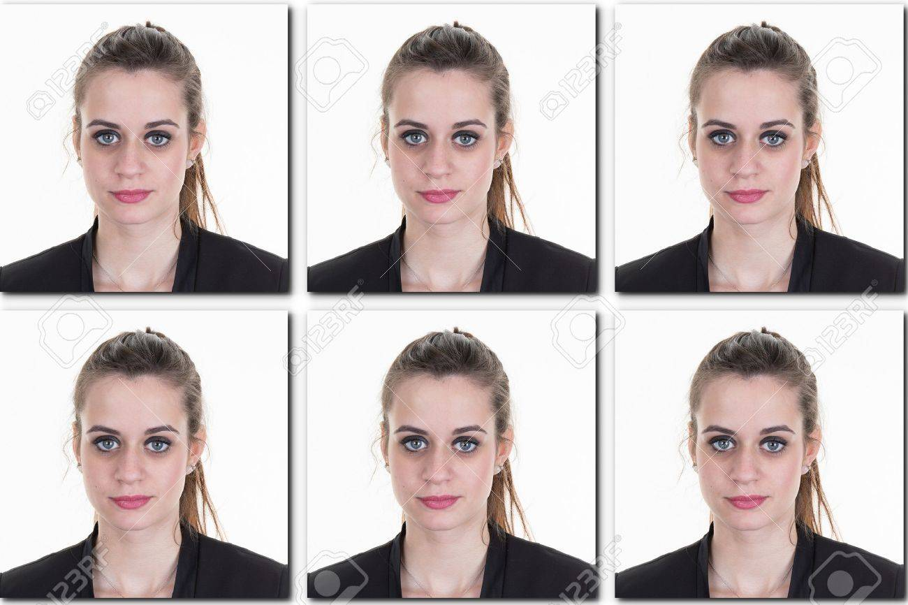 identification photo of a girl ( collage of 6 photos ) for passport, identity card, etc.. - 53263803