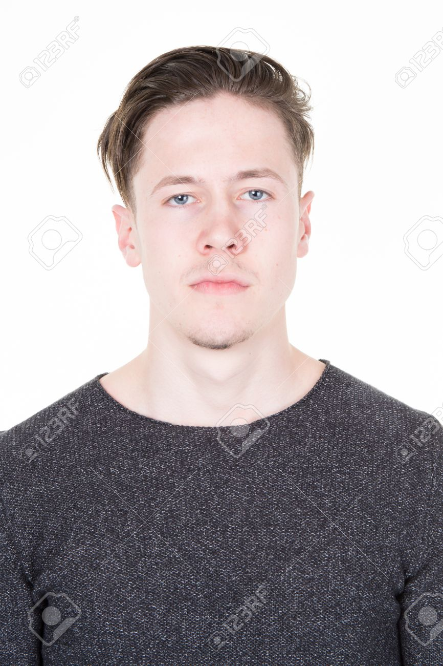 Passport picture of a cool guy in a grey shirt isolated - 54180158
