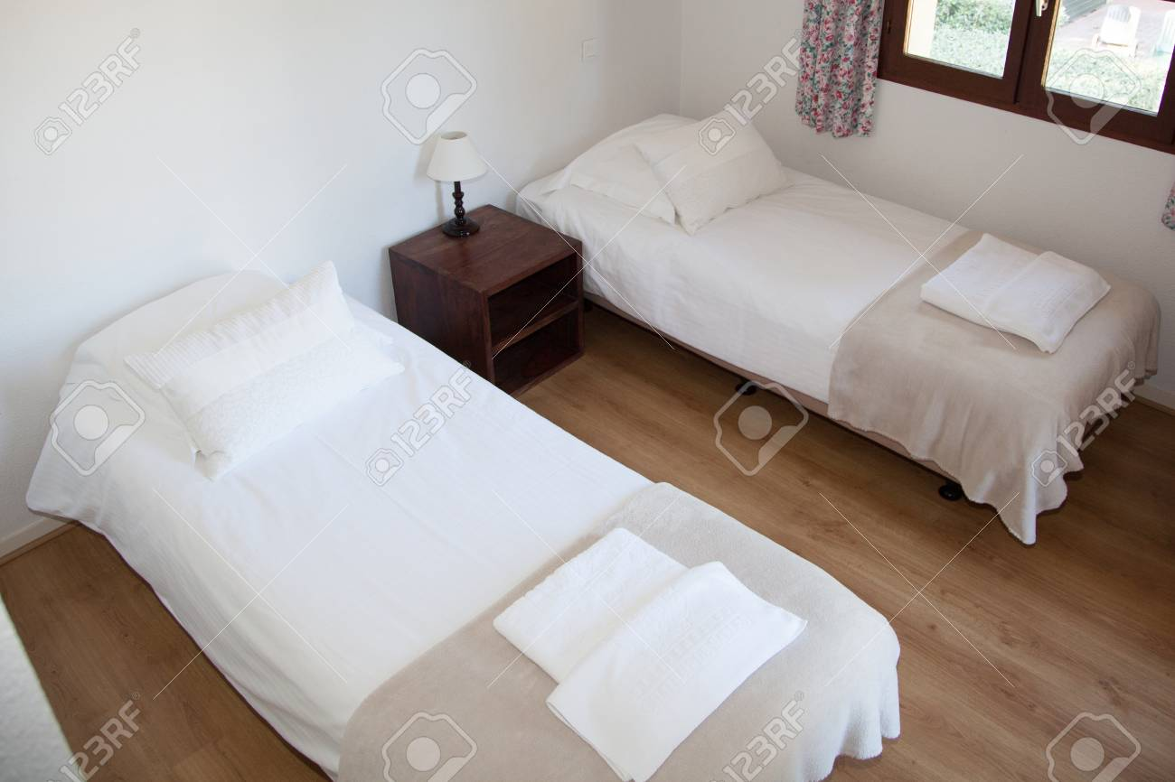 Captivating Stock Photo   Two Single Beds In Cozy Bedroom In A Bright House