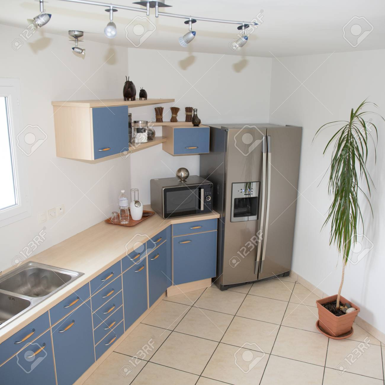 Modern Kitchen Interior With A Blue Decoration Stock Photo Picture