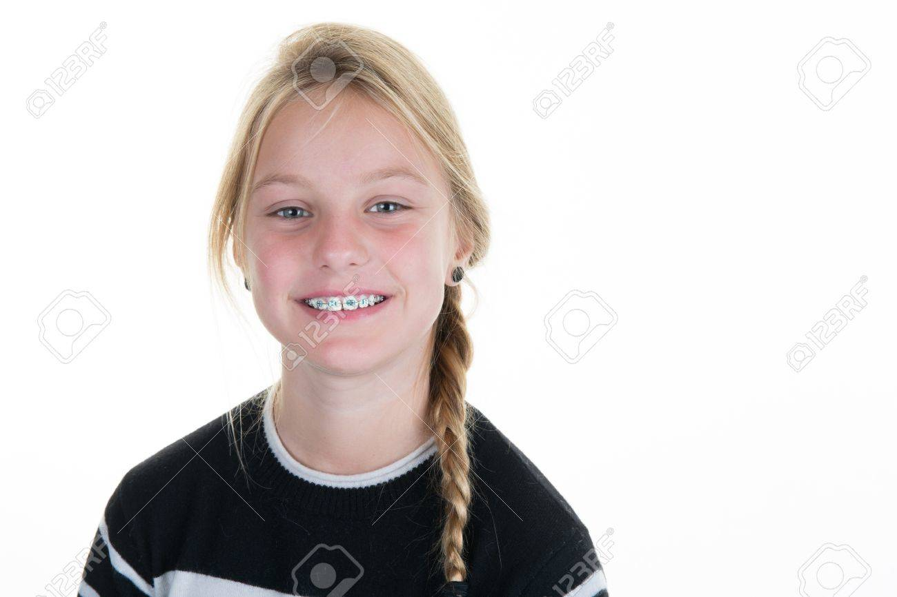 Pretty blond Teen or child girl isolated on white background - 65806941