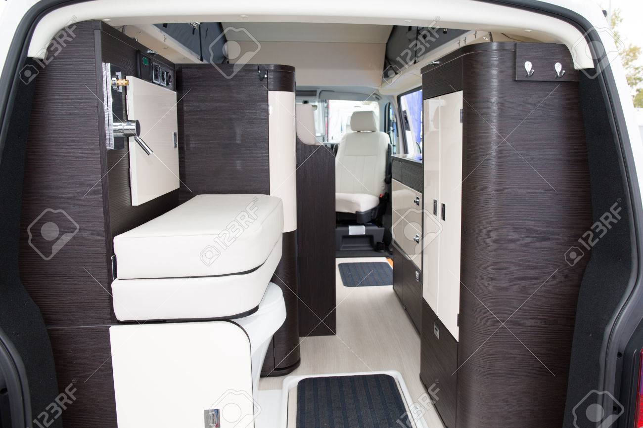 Vehicle Interior View Of A Motorhome Modern Area Inside The Camper ...