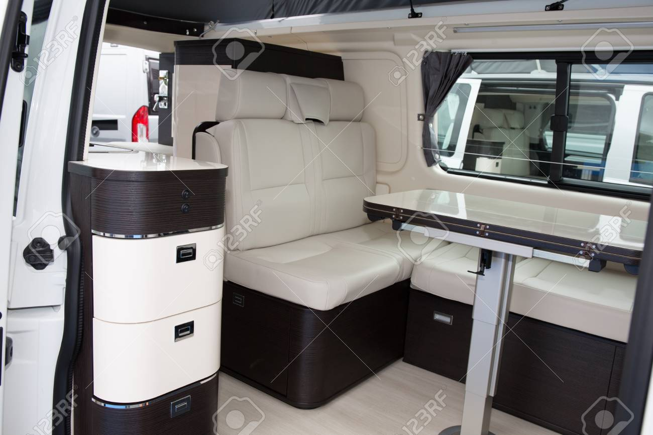 Interior Inside The Luxury Camper Van Travel Trailer Stock Photo