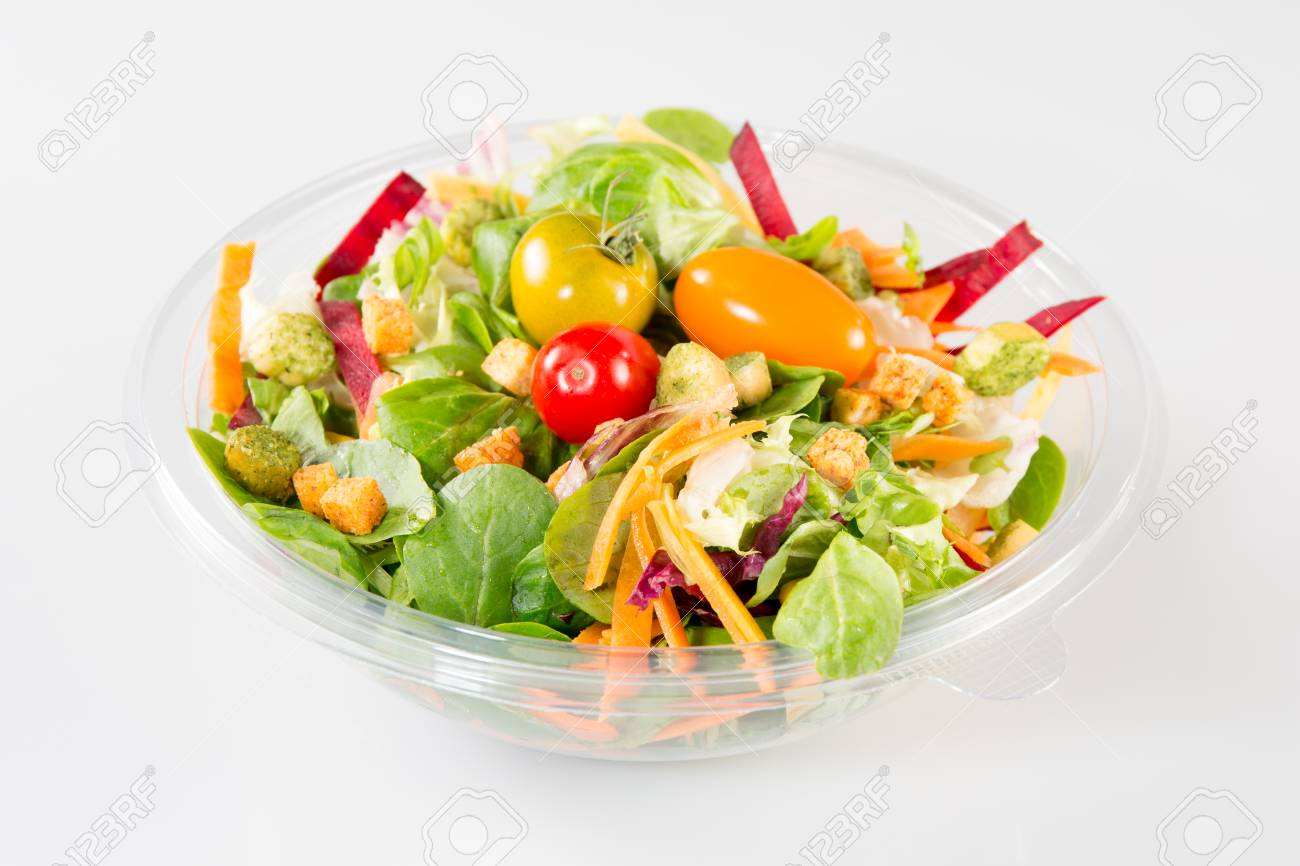 Takeaway salad on white background - 88158900