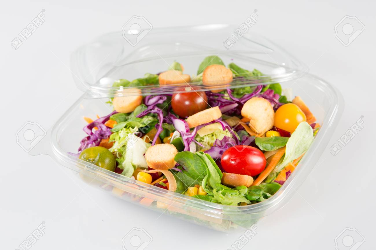 Close up of take away bowl with fast food salad - 88159132