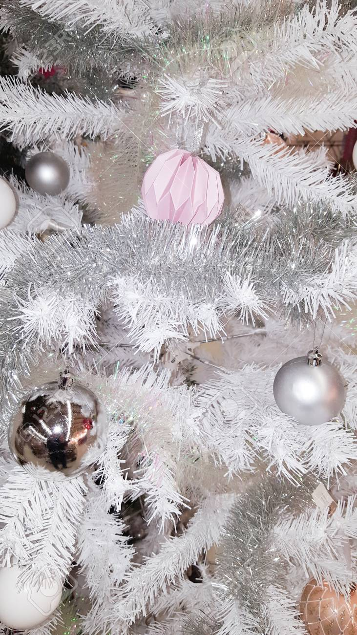 Grey Christmas Tree Decorative With Gray And Pink Stock Photo Picture And Royalty Free Image Image 89480928