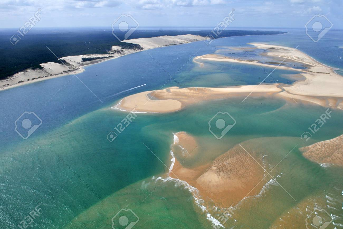 Aerial Plane View Of Bassin Arcachon Near Bordeaux In France