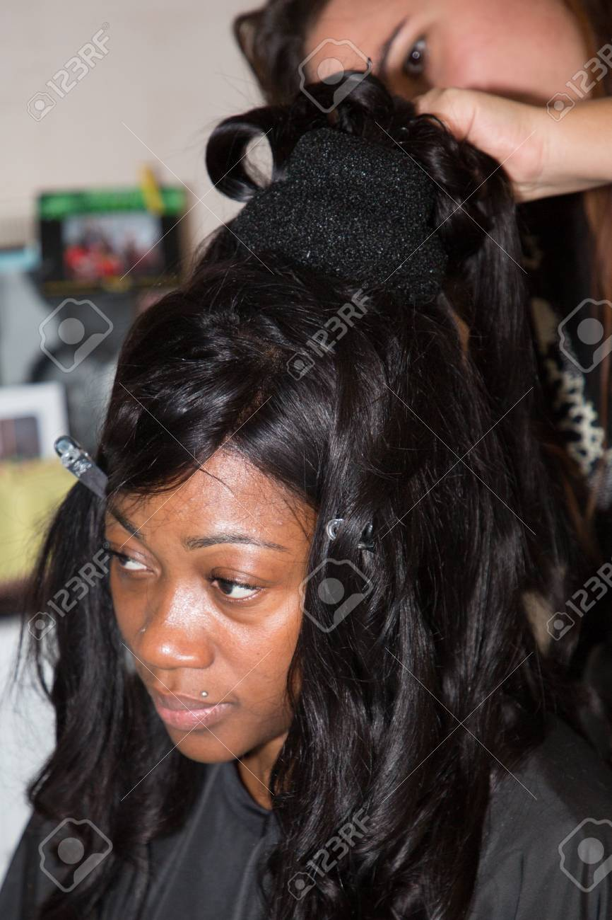 Professional Hair Stylist Makes Black Bride Wedding Hairstyle