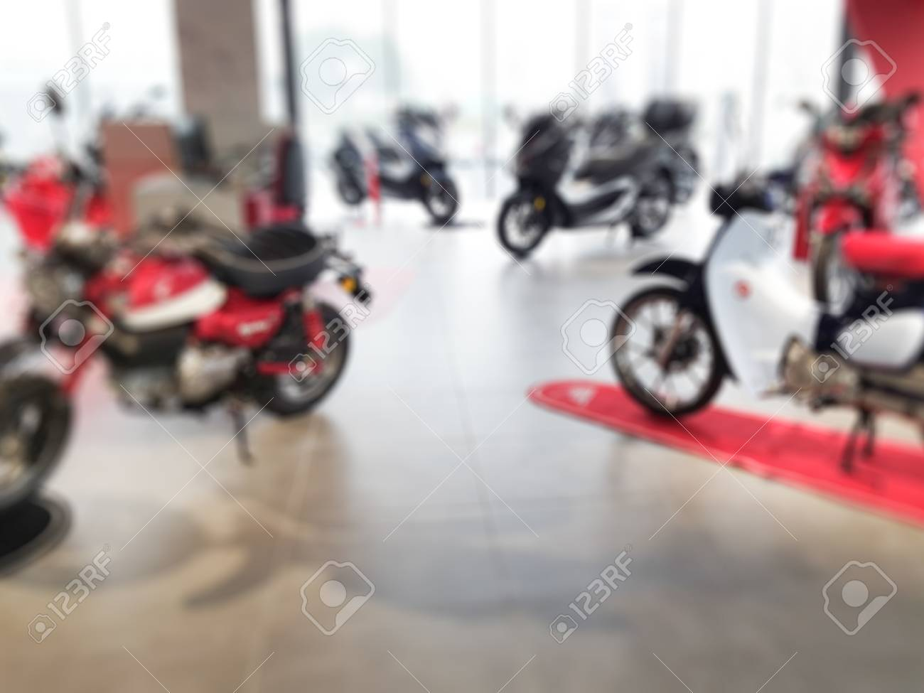 blurry shop motorcycle with moped scooter for sale - 113935805