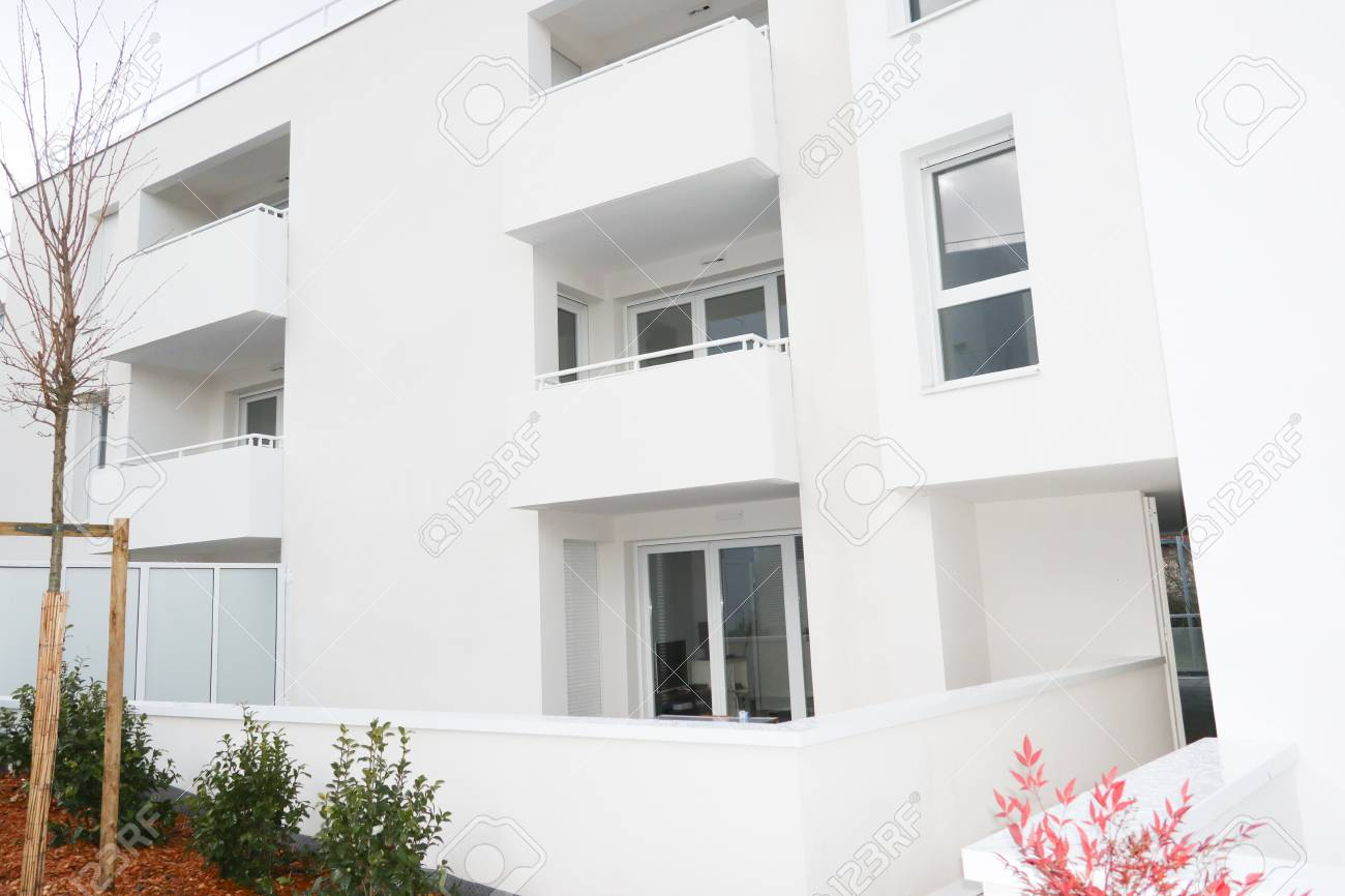 Residential Exterior New Building White And Contemporary Style