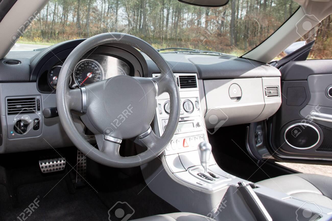 Modern car interior in closeup photo - 131096459