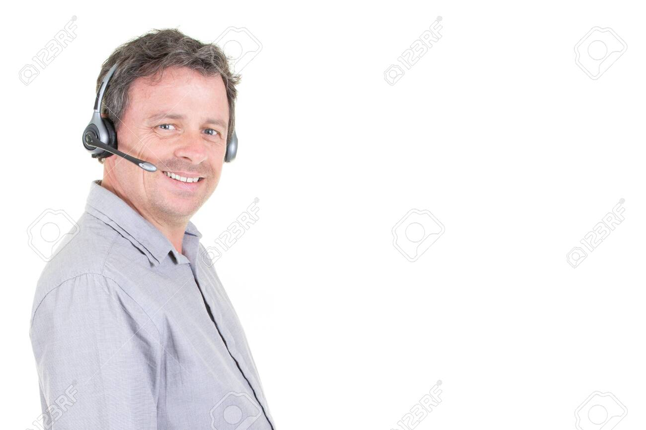 Customer Call Center Man Service Representative Talking On Phone Stock Photo Picture And Royalty Free Image Image 120326399
