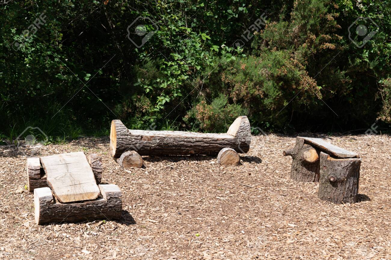 Park Natural Wood Bench Rustic Outdoor Stock Photo Picture And Royalty Free Image Image 125626107