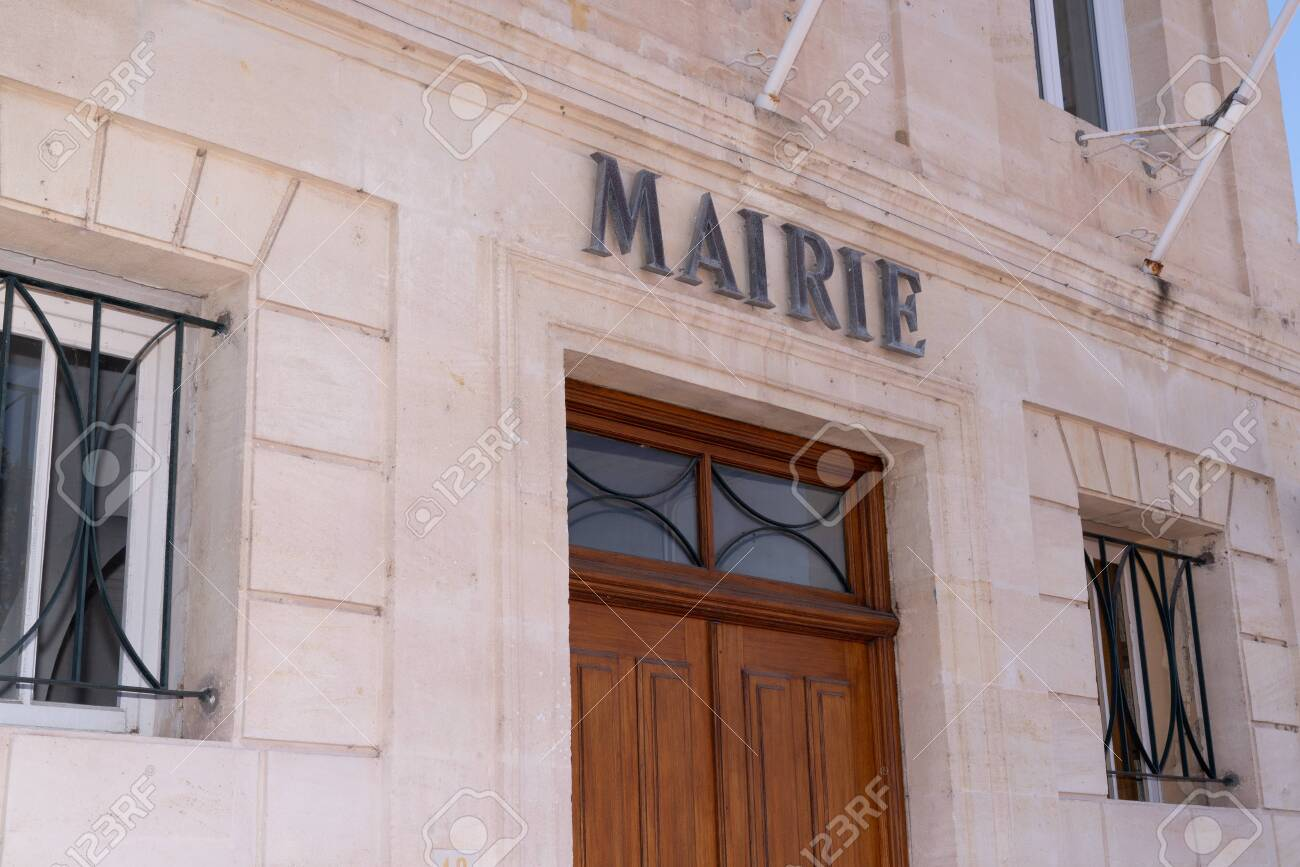 city hall in Margaux village in Medoc France - 129574082