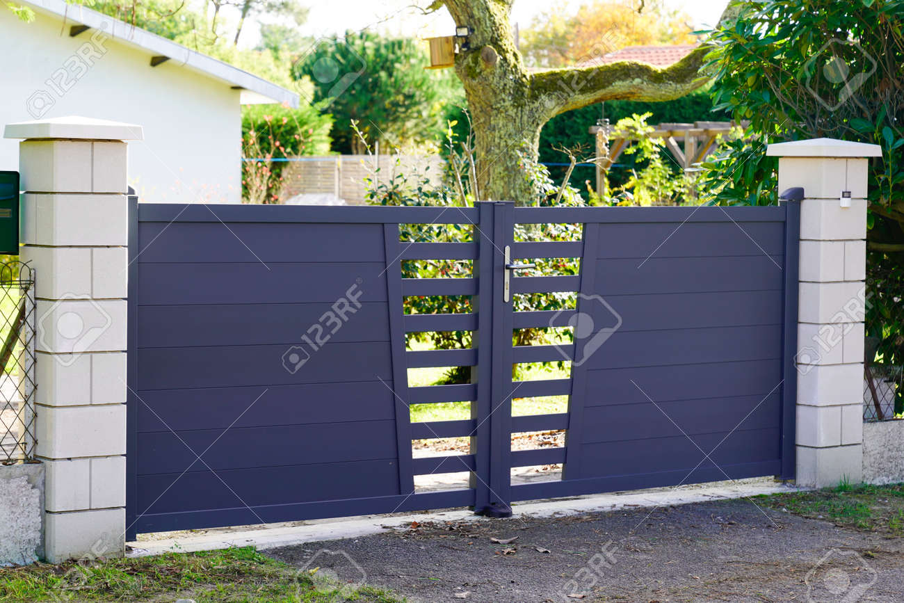 Aluminum modern style home gray gate portal of suburb door house - 159029901