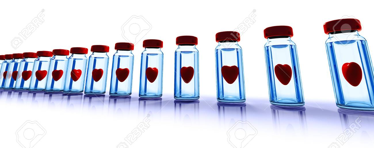 Medical glass bottles with red hearts inside Stock Photo - 8531248