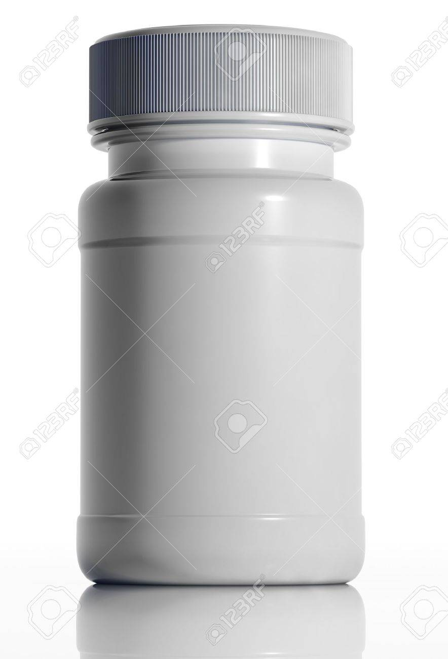 White plastic medical bottle isolated on white background. Container for pills or capsules. Blank for label. 3d - 8559947