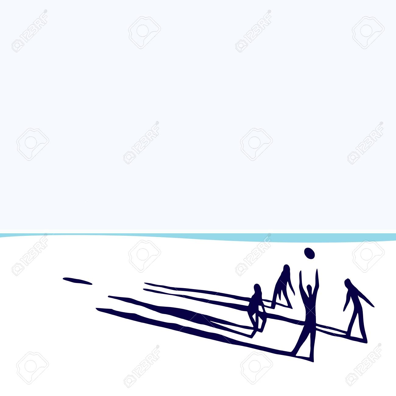 People on beach playing volleyball. Stock Vector - 10528752