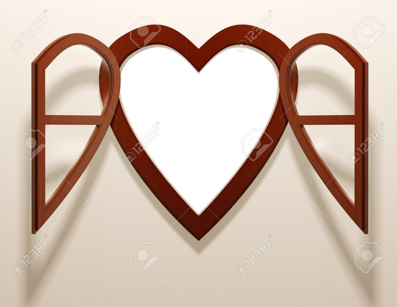 Heart shaped open window, 3d Stock Photo - 15272482