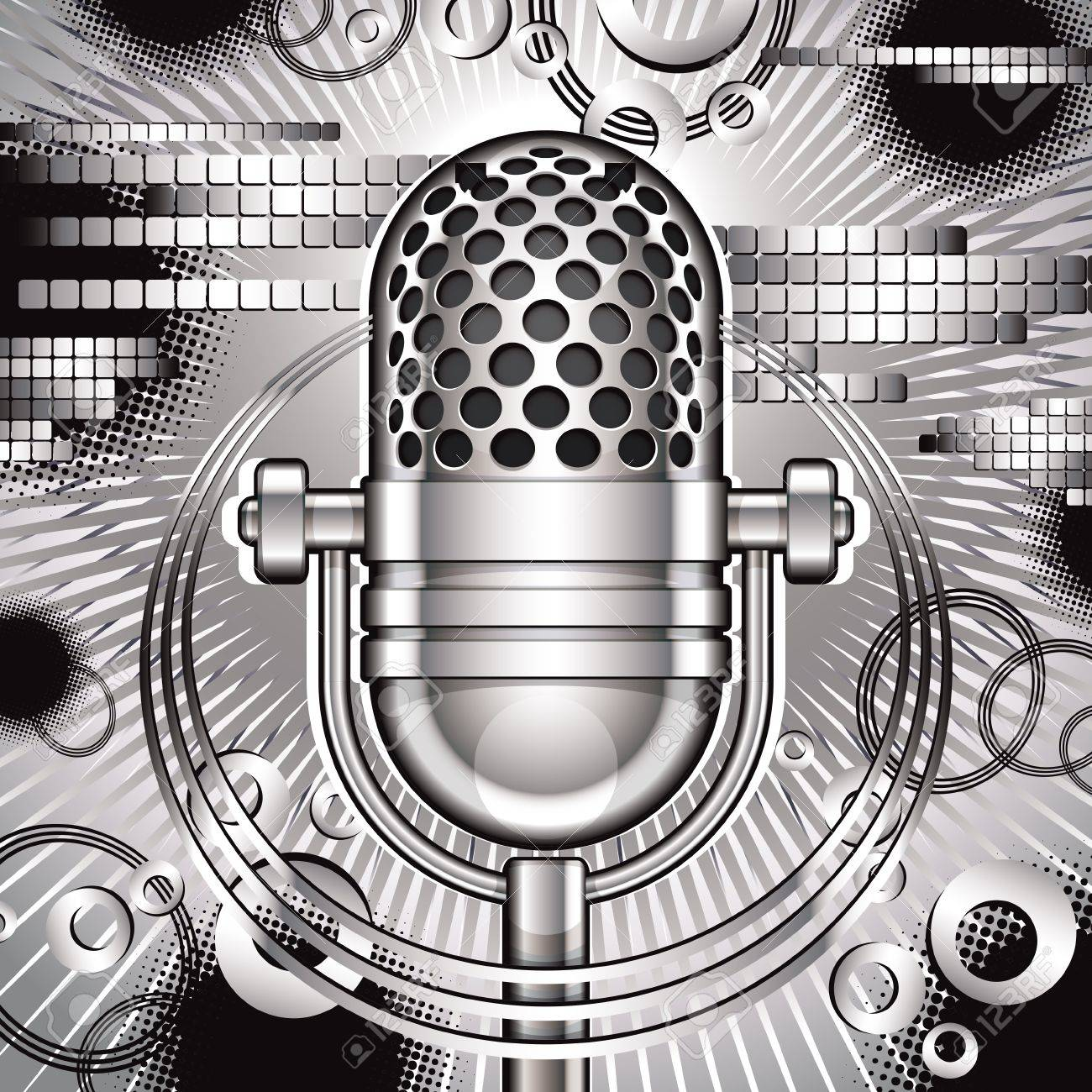 Music  illustration with retro microphone. Stock Vector - 15274763