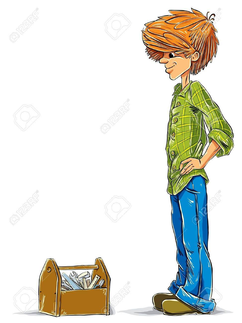 Teen boy cartoon with toolbox Stock Vector - 15275237