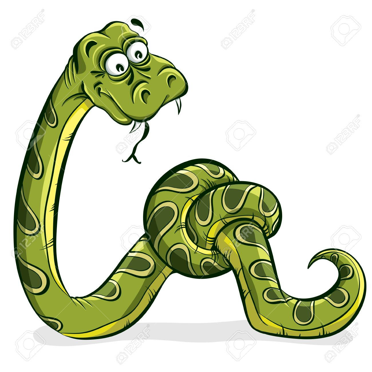 Green snake cartoon tied up in a knot Stock Vector - 15275236