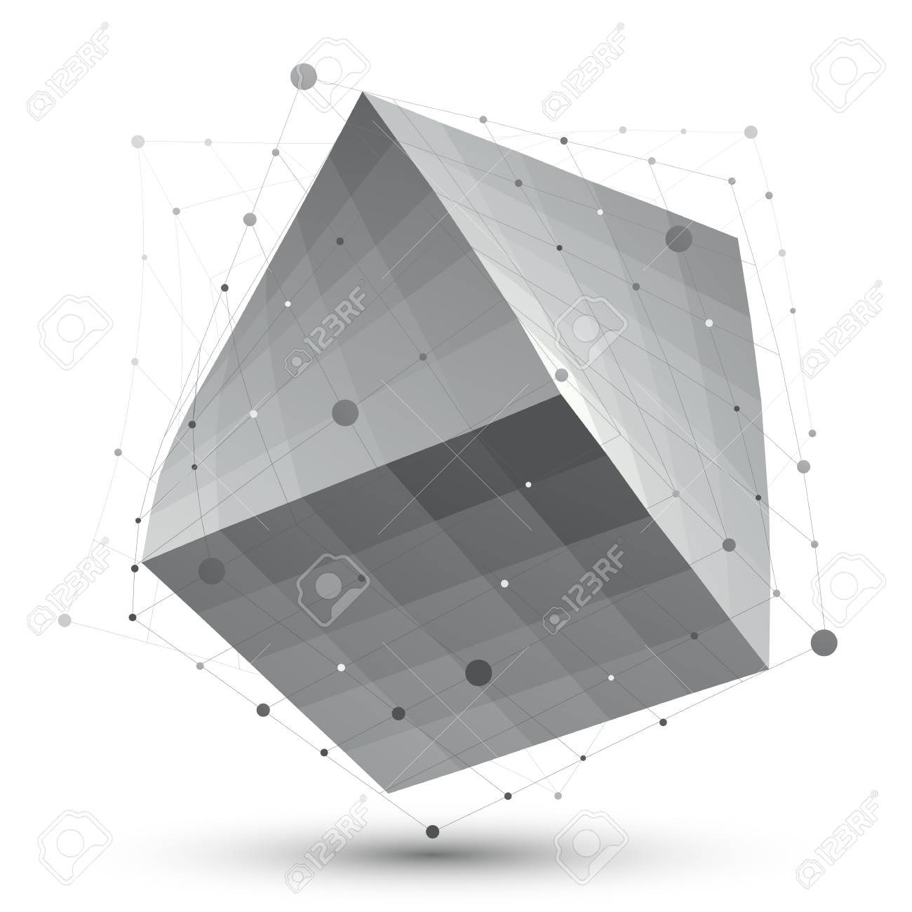 Distorted 3D abstract object with lines and dots isolated on white background, unusual spatial cube. Stock Vector - 29717362
