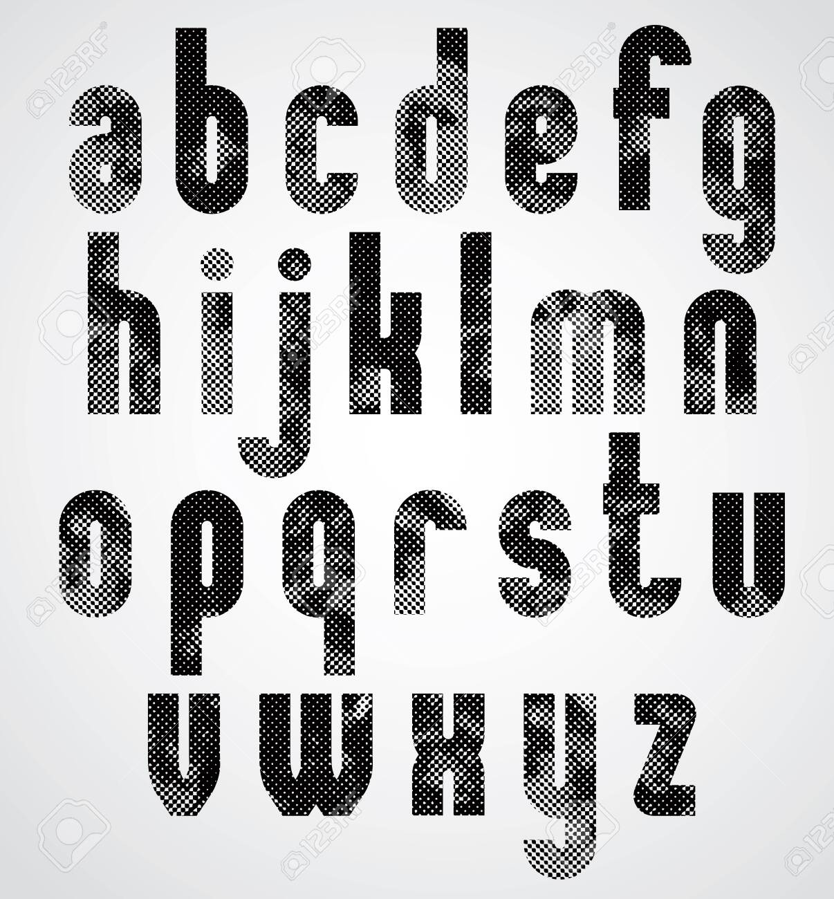 Black Dotty Graphic Lower Case Letters, Industrial Font. Royalty ...